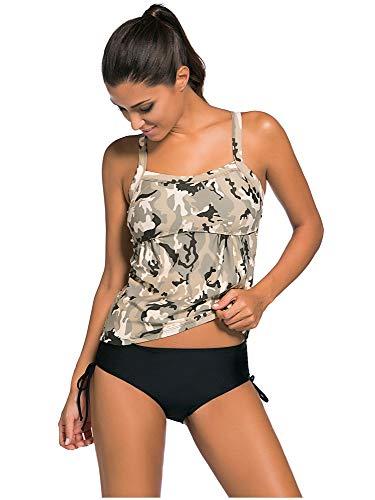 WARM home Kreativ Damen großer Zweiteiliger Badeanzug, tief ausgeschnittenes Tarnmuster mit niedriger Taille und Zweiteilige sexy Bikini-Damen (Farbe : Camouflage Khaki, Größe : M)