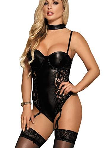 marysgift Damen Wetlook Straps Body String Teddy Spitze Neckholder Choker schwarz Corsagen Kleid Dessous große größen 40 42