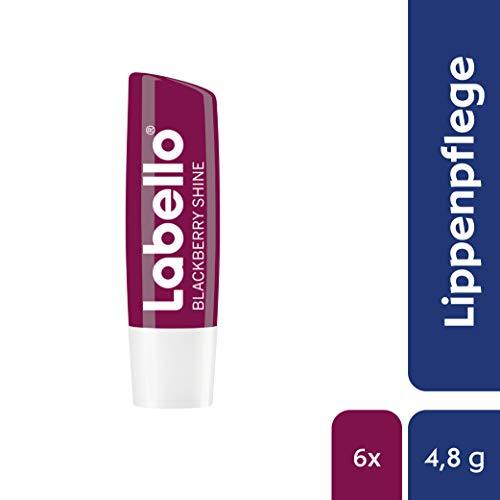 Labello Blackberry Shine, Lippenpflegestift mit zartrotem Glanz und Schimmerpigmenten, Lippenpflege ohne Mineralöle, 6er Pack (6 x 4,8 g)