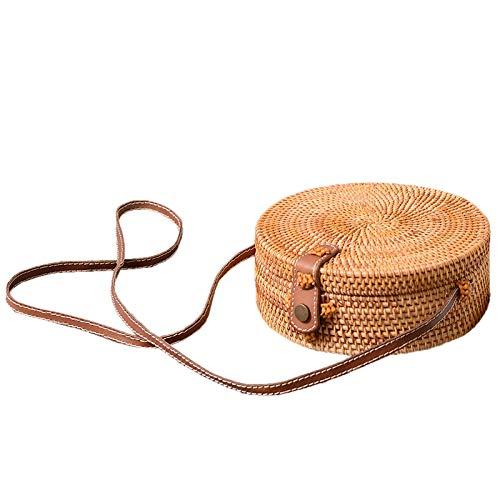 REFURBISHHOUSE Bali archaistische handgefertigte Umhaengetasche aus Leder Runde Strandtasche des Maedchen Tasche aus ringartigem Rattan Kleine boehmische Umhaengetasche