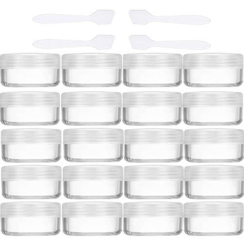 20 Stück Cremedose Leer 10g/10ml Transparent Klein Kunststoff Tiegel - für Kosmetikdose, Lippenbalsam Döschen, Nailart Döschen - Mit 4 Stück Mini Spatel (Transparent)