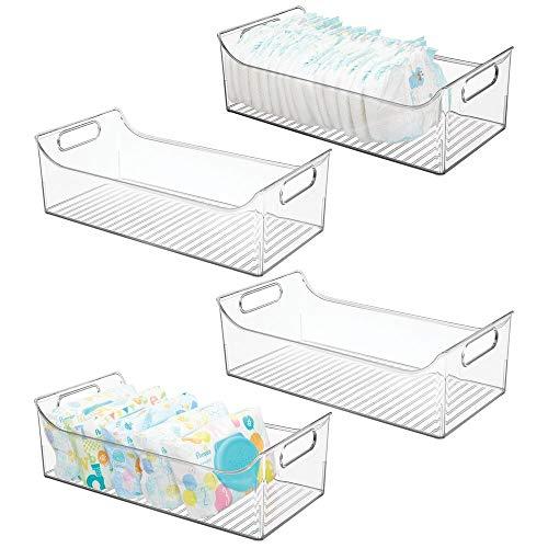 mDesign 4er-Set Kinderzimmer Organizer - große Sortierbox mit praktischen Griffen, ohne Deckel - BPA-freier Kunststoffbehälter mit großem Fach für Spielzeug, Windeln, Stofftiere & Co. - durchsichtig