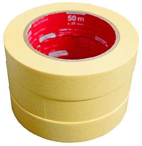 CON:P Kreppband 50 m x 25 mm - Praktisches 3er Set - Für einfache Abdeck- & Malerarbeiten - Universell einsetzbar - Rückstandfrei ablösbar / Abklebeband / Malerkrepp / Feinkreppband / B22299
