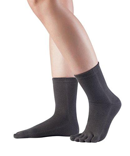 Knitido Essentials Midi Zehensocken, kurze fünf finger Socken aus Baumwolle, für Damen und Herren, Größe:43-46, Farbe:Charcoal