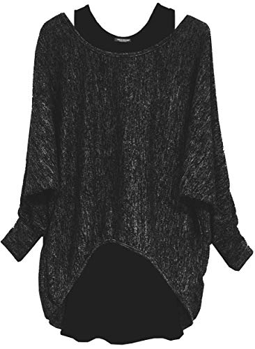 Emma & Giovanni - Damen Langarmshirt/Pullover (2 Stück) (L/XL, Schwarz)