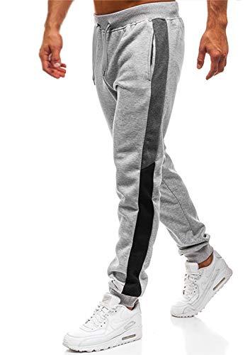 Herren Hosen Hose Sporthose Trainingshose Cargo Pants Jogginghose Sweatpants Jogger Mode Freizeit Laufen Streifen Enger Beinabschluss(Hellgrau,L)