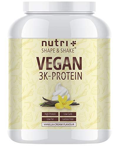 Protein Vegan Vanille 1kg | 84,6% Eiweiß | 3k-Proteinpulver | Nutri-Plus Shape & Shake | Low-Carb Eiweißpulver ohne Lactose & Milcheiweiß - Einweg