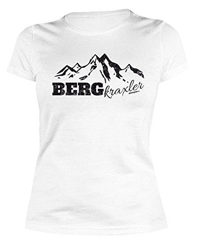 Damen T-Shirt Wandern Bergsteigen Klettern : BERGkraxler - lustiges Sprüche Sportshirt Frauen Farbe: Weiss Gr: XL