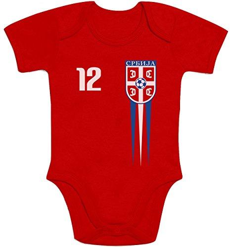 Shirtgeil Serbien Fanartikel für Babys zur WM 2018 Baby Body Kurzarm-Body 69/80 (6-12M) Rot