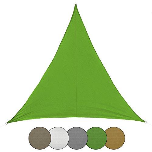 BB Sport Sonnensegel dreieckig in verschiedenen Größen und Farben Sonnenschutz 100% PES Sichtschutz Windschutz Tarp, Farbe:Smaragd, Größe (Fläche):2.5m x 2.5m x 3.5m