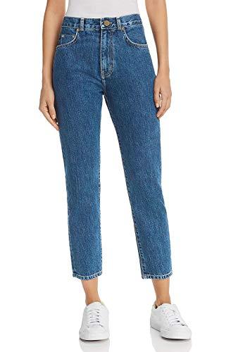 Damen Midge Deconst High Boyfriend Mom Jeans Straight Leg 7/8 Länge Loose Fit(Dunkelblau, 25)