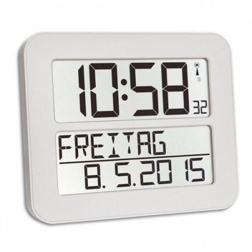 TFA Dostmann TimeLine Max Funkuhr, Wanduhr, digital, mit Wochentag und Weckfunktion, weiß, 60.4512.02