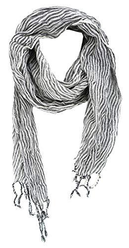 gecrashter Schal in schwarz grau weiß gestreift mit Fransen - Gr. 180 x 25 cm