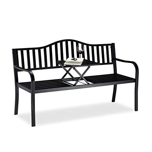 Relaxdays Gartenbank mit Klapptisch, 3-Sitzer, integrierte Tischablage, wetterfest, HxBxT 90 x 150 x 57,5 cm, schwarz
