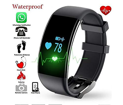 XCQZN Smartwatch Fitness Tracker Sport Uhr Smart Watch Mit IP68 Wasserdicht GPS Herzfrequenz Ermüden Monitor Schrittzähler Touchscreen Für Kinder Damen Herren Ios Android,Schwarz