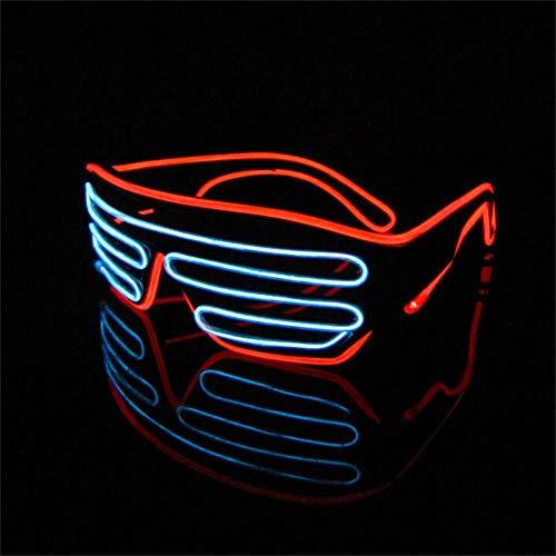 Lerway 2 Bicolor EL Wire Leuchtbrille Leuchten LED Shutter Shade Brille Fun Konzert + Soundsteuerung Box für Masquerade Party, Nacht Pub,Bar Klub Rave,70er 80er 90er Kostüm (Weiß + Rot)