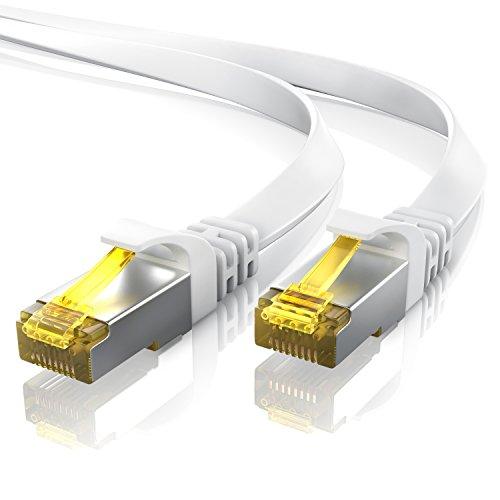 15m CAT 7 Netzwerkkabel Flach - Ethernet Kabel | Gigabit Lan 10 Gbit/s | Patchkabel - Flachbandkabel - Verlegekabel | Cat.7 Rohkabel U/FTP PIMF Schirmung mit RJ 45 Stecker | Switch Router Modem