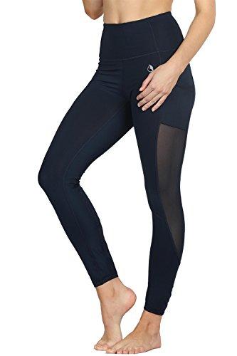 icyzone Damen Sport Leggings Yoga Trainings Hohe Taille Sporthose Stretch Hose mit Tech Mesh (Blueberry, S)