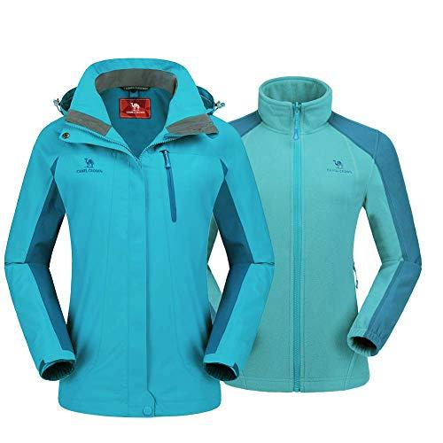 CAMEL CROWN Damen Outdoor 3-in-1 Skijacke mit Fleece Jacke, Wasserdicht Winddicht Warm Atmungsaktiv Winterjacke mit Kapuze Abnehmbare und Taschen, Doppeljacke Regenjacke Funktionsjacke Damenjacke