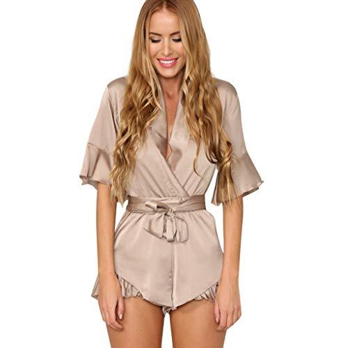 WooCo Sommer Jumpsuits Chiffon Elegant für Frauen - Damen Overall V-Ausschnitt Rüschen Short mit Gürtel Kurzarm - Cool & Comfy 2019 Sale(Khaki,XXL)