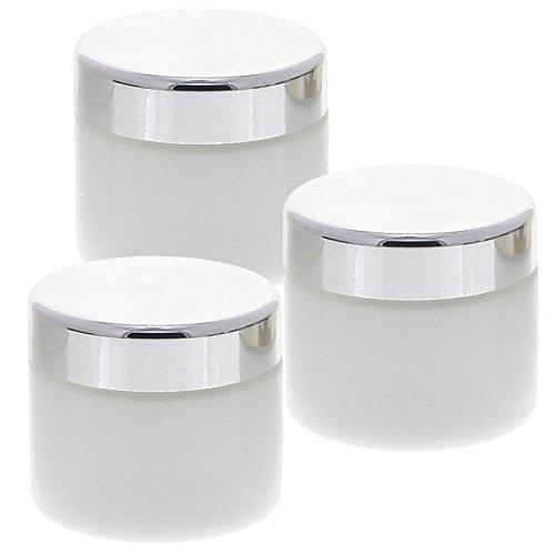 3 weiße Glas-Tiegel 100ml mit silbernem Deckel Kosmetex Kosmetik-Dose, Salbentiegel, Cremedose, 3x Deckel-Silber