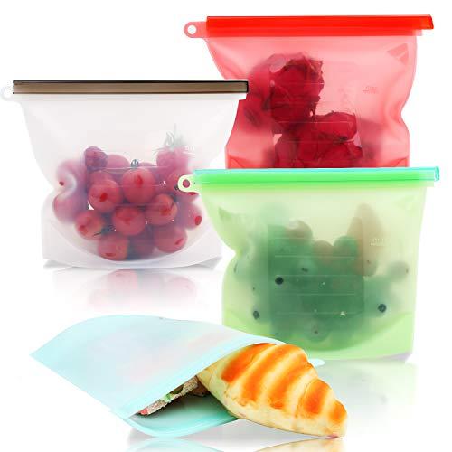 Smyidel Wiederverwendbare Silikonbeutel Lebensmittel Beutel Küche Beutel, BPA-frei, auslaufsicher - sicher für Geschirrspüler, Mikrowelle und Gefrierschrank für Obst Gemüse Milch Snacks Fleisch (B)