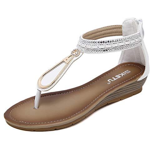 Frauen Sandalen mit Keilabsatz, Flip-Flop-Plateau-Riemen, Espadrille Chic Comfy Heel Shoes Beach,White,40