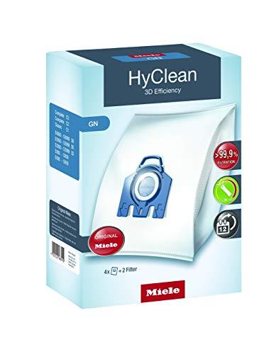 Miele 9917730 Staubbeutel GN HyClean 3D, 4 Staubbeutel, 1 Air Clean Abluftfilter für saubere Raumlauft, 1 Motorschutzfilter, blau