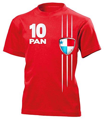 Panama Fan Streifen 5946 Fussball Kinder Kids Jungen Mädchen Unisex Fanshirt Shirt Tshirt Fanartikel Artikel T-Shirts Rot 140