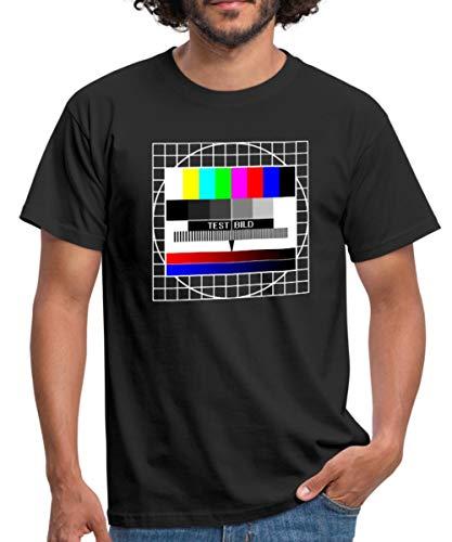 Spreadshirt Analoges Fernsehtestbild TV Testbild Männer T-Shirt, L, Schwarz