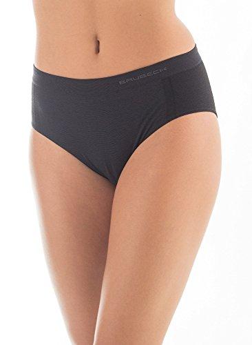 BRUBECK® 3x HI10080 ACTIVE WOOL Damen Hipster Slip | Merino Wollmix | Perfekte Passform | Atmungsaktiv | Antiallergisch, Größe:L;Farbe:Schwarz