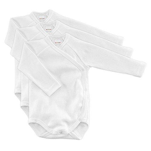 MAKIAN Baby Wickelbody Langarm Weiß - 3er Pack - 100% Baumwolle/Öko-Tex Standard 100/Unisex (50/56)