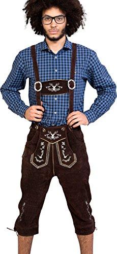 Almwerk Herren Trachten Lederhose Kniebund Modell Hipster in schwarz, braun und Hellbraun, Farbe:Braun, Größe Herren:44