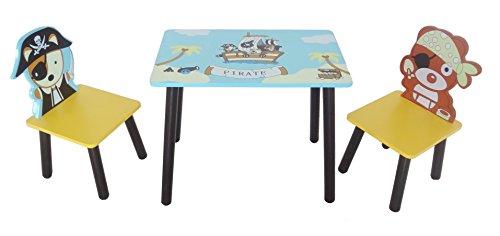 Kiddi Style Piraten Kindersitzgruppe – 1x Kindertisch & 2x Kinderstuhl – stylische Sitzgruppe & Kindersitzgruppe mit Tisch & Stühlen für Kinder
