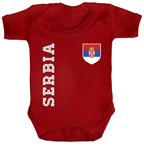 Serbien Fußball WM Fanfest Gruppen Fan Strampler Bio Baumwoll Baby Body kurzarm Jungen Mädchen Fan Trikot Serbia, Größe: 12-18 Monate,Red