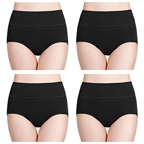 wirarpa Damen Unterhosen Baumwolle Slips Damen Hoher Taille Atmungsaktive Taillenslip Wochenbett Unterwäsche Mehrpack Größen 32-58, Schwarz, Medium (38/40)