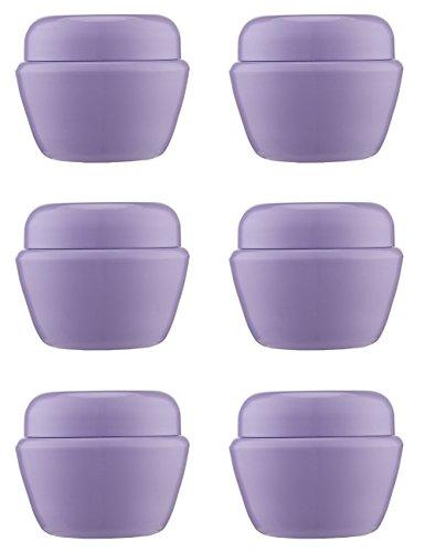 MYLL 6 Stück 50ML / 50g Klein Kunststoff Cremedose Leer mit Deckel   Cremetiegel/Tiegel leer - für Kosmetikdose, Lippenbalsam Döschen, Pulver, Nailart, Lidschatten Dose Behälter – BPA frei (Lila)