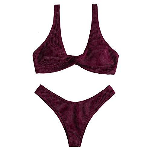 ZAFUL Damen Strukturierter Badeanzug Einfarbiger Sexy Bikini Sommerkleidung Beachwear(Weinrot M)