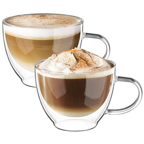 Ecooe Doppelwandige Cappuccino Tassen Glaser Latte Macchiato Glaser Set Thermoglas Trinkgläser Kaffeeglas 2-teiliges 350ml (Volle Kapazität)