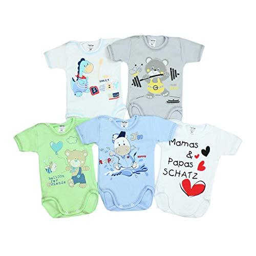 TupTam Unisex Baby Kurzarm-Body mit Aufdruck Spruch 5er Set, Farbe: Junge 2, Größe: 62