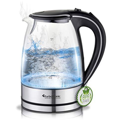 TurboTronic Glas Wasserkocher 1,7 Liter mit Kalkfilter und LED Beleuchtung Blau (innen) BPA Frei, Leistung: 2200 Watt