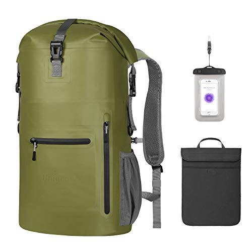 Unigear Wasserdichter Rucksack 35L, Dry Bag, Wasserdichter Packsack, 58x34x19cm, für Boot und Kajak, Angeln, Rafting, Schwimmen, Camping und Snowboarden, MEHRWEG (Armeegrün)