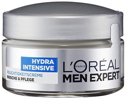 L'Oréal Men Expert Hydra Intensive Feuchtigkeitscreme, Gesichtspflege für sensible Männerhaut, zieht schnell und ohne Rückstände ein, ohne fetten (50ml)