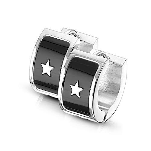 BlackAmazement 2er Set 316L Edelstahl Paar Klapp Creolen Stern Star Ohrringe 7mm Silber Schwarz Herren Damen