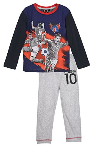 Lionel Messi FC Barcelona Argentinische Nationalmannschaft (2225) - Kinder Pyjama Set Longlseeve T-Shirt & Lange Schlafanzug Hose, blau/grau/rot, Gr. 110