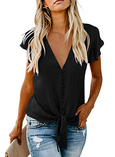 FIYOTE Damen Blusen Elegante Oberteile V-Ausschnitt Tops Chiffon Hemd Kurzarm T-Shirts