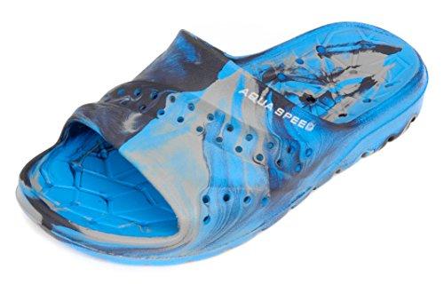 Aqua Speed Badelatschen Für Kinder - Schwimmbadschuhe - Anti-Rutsch-Sohle - Sehr Leicht - #As Patmos, 01 Blau/Grau, 30