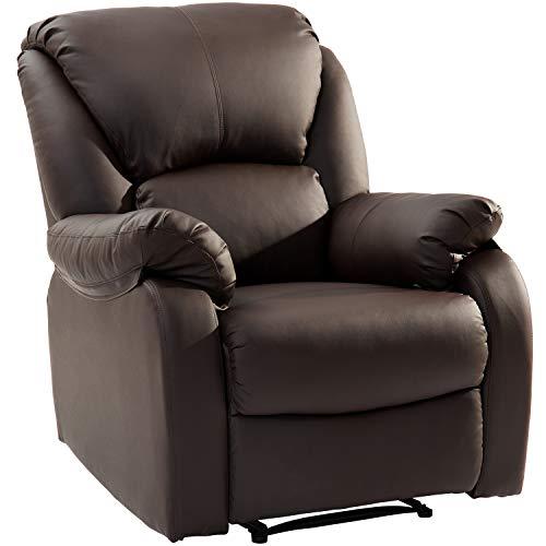 Modern Luxe Fernsehsessel Relaxsessel Leder Sofa Tilt Sofa Push Back Sessel für Home Lounge Gaming Cinema High-Back (Braun)