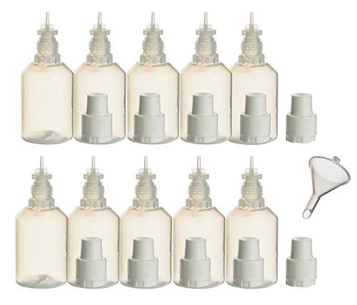 10 Stück PP-Flaschen 30 ml incl. 1x Füll-Trichter - Leerflasche Kunststofflasche Plastikflasche Spritzflasche quetschbar zum befüllen und mischen