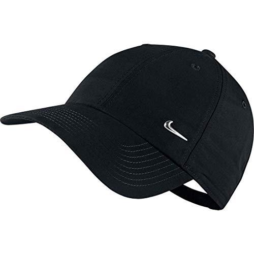 Nike Cap Metal Swoosh Logo, Schwarz/Metallic Silver, One Size, 340225